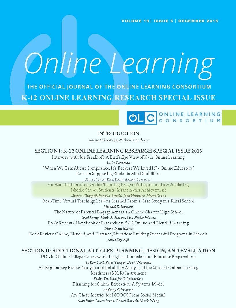 Peer Reviewed Study - OLC Online Learning Journal - FEV Tutor - Online Math Tutoring