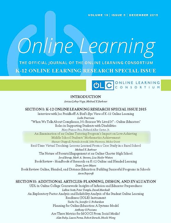 Peer Reviewed Study - OLC Online Learning Journal - FEV Tutor - Online Math Tutoring